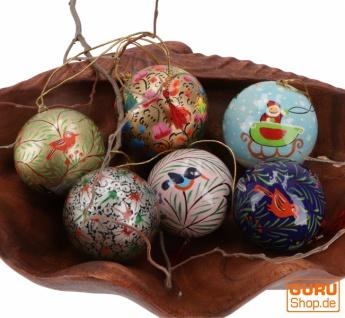 Upcyceling Weihnachtskugel Set aus Pappmachee, Handbemalter Christbaumschmuck, Kaschmirkugeln - bunt