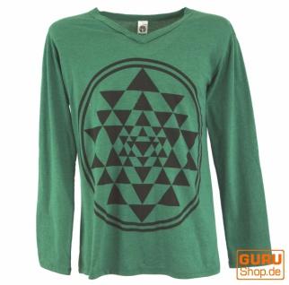 Langarmshirt Shri Yantra, Goa Shirt - smaragdgrün