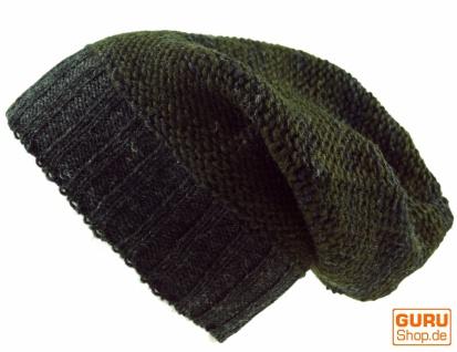 Beanie Mütze, Strickmütze aus Nepal - olivgrün/grau