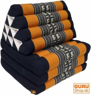Thaikissen, Dreieckskissen, Kapok, Tagesbett mit 3 Auflagen - schwarz/orange