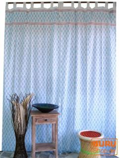 Boho Vorhänge, Gardine (1 Paar ) mit Schlaufen, handbedruckter ethno Style Vorhang - Muster blau