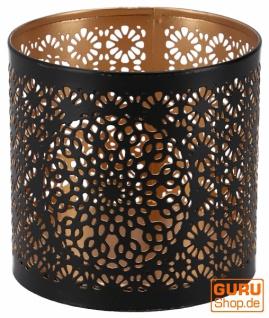 Filigranes orientalisches Metall Windlicht, Teelicht Leuchte mit fein gefrästem Design - Motiv 2 - Vorschau 5