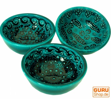 1 Stk. Orientalische Schüssel, Schale, Müslischale, handbemalt - grün Ø 8 cm