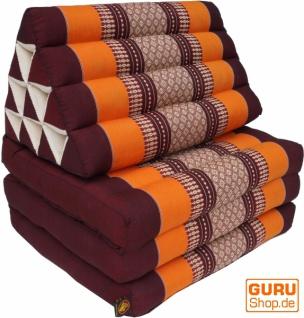 Thaikissen, Dreieckskissen, Kapok, Tagesbett mit 3 Auflagen - braun/orange