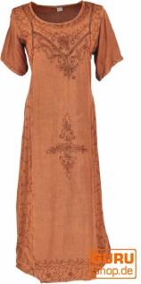 Besticktes Boho Sommerkleid, indisches Hippie Kleid - rostorange/Design 11