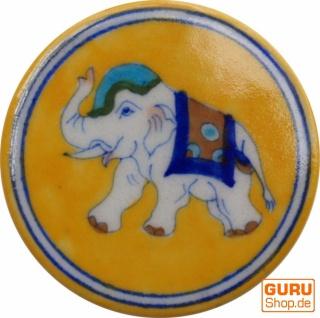 Runder handbemalter Keramikuntersetzer für Gläser - Motiv 4