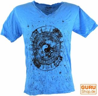 Pure T-Shirt Ying Yang mit spitzem Ausschnitt - blau
