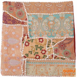 Patchwork Kissenhülle, Dekokissen Bezug aus Rajasthan, Einzelstück - Muster 26