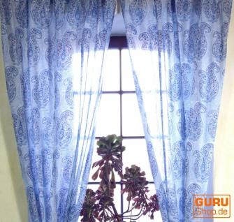 Boho Vorhänge, Gardine (1 Paar ) mit Schlaufen, leicht transparenter handbedruckter ethno Style Vorhang - Muster 7
