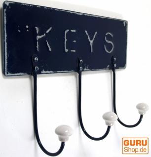 3 er Vintage Wandhakenaus Metall - Keys
