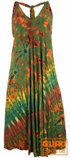 Rückenfreies Batik Midikleid, Neckholder Boho Pixi Kleid - olive