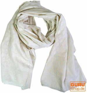 dünnes Tuch, Sarong, Wandbehang, Wickelrock, Sarongkleid - weiß - Vorschau 1