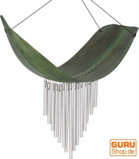 Aluminium Klangspiel, exotisches Windspiel - Palmenblatt grün