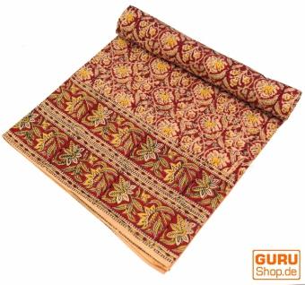 Blockdruck Tagesdecke, Bett & Sofaüberwurf, handgearbeiteter Wandbehang, Wandtuch - rot/gelb traditionell
