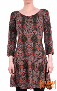 Kleid aus Bio-Baumwolle / Chapati Design - terracotta multi