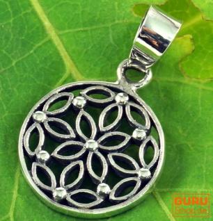 Silberanhänger Blume des Lebens, Talisman blütenform