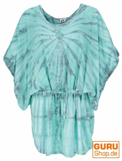 Batiktunika mit Gürtelband, Maxitunika, Strandkleid, Übergröße - grün/grau