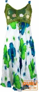 Boho Minikleid, Sommerkleid Hawaii, Krinkelkleid - weiß/lemon