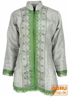 Indische Boho Seidenbrokat Jacke, Sareeseide Mantel, Einzelstück, grün - Modell 11