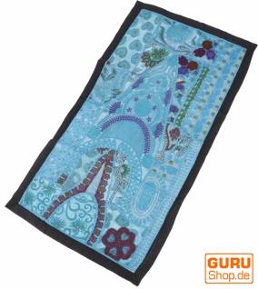 Indischer Wandteppich Patchwork Wandbehang, Tischläufer, Einzelstück 80*45 cm - Muster 10