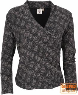 Langarmshirt in Wickeloptik aus Bio-Baumwolle, Boho Shirt mit Rosendruck - schwarz