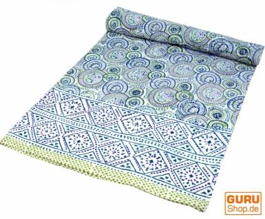Blockdruck Tagesdecke, Bett & Sofaüberwurf, handgearbeiteter Wandbehang, Wandtuch - blau retro