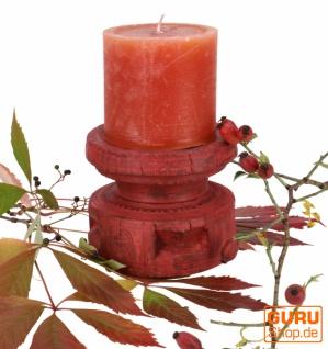 Indischer Vintage Holz Kerzenhalter, massiver Kerzenständer - 9
