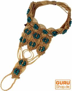 Fingerring - Armband, Perlenarmband, Makrameee Armband - hellbraun