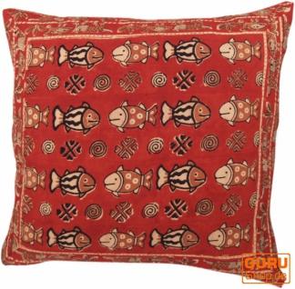 XL Kissenbezug Blockdruck, Kissenhülle Ethno, Dekokissen Bezug mit traditionellem Design - Muster 15