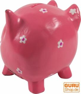 Verrückte Sparbüchse aus Holz, von Hand bemalt - Glücks Schwein rosa - Vorschau 3