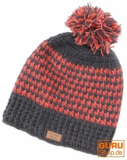Beanie Mütze, Bommelmütze, Wollmütze aus Nepal - grau/lachs - Vorschau 1