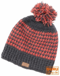 Beanie Mütze, Bommelmütze, Wollmütze aus Nepal - grau/lachs