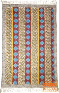 Handgewebter Blockdruck Teppich aus natur Baumwolle mit traditionellem Design - Muster 24