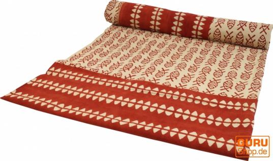 Blockdruck Tagesdecke, Bett & Sofaüberwurf, handgearbeiteter Wandbehang, Wandtuch - rot/cream Fische