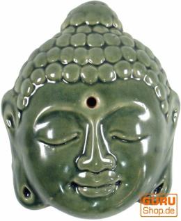 Räucherstäbchenhalter aus Keramik Buddhakopf grün - Modell 13