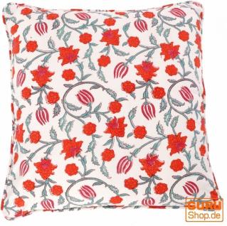 Kissenbezug Blockdruck, Kissenhülle mit Blumendruck, Dekokissen Bezug mit traditionellem Design 50*50 cm - Muster 1