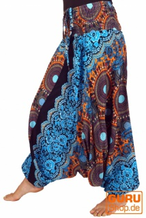 Afghani Hose, Overall, Jumpsuit, Haremshose, Pluderhose, Pumphose, Aladinhose - blau/türkis/orange