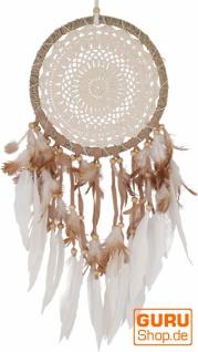 Traumfänger mit gehäkelter Spitze - creme 22 cm