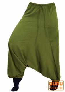Haremshose Pluderhose, Unisex Pumphose, Aladinhose mit sehr langem Bein - grün