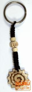 Ethno Tibet Schlüsselanhänger, Gravierter Taschenanhänger - Sonnenspirale