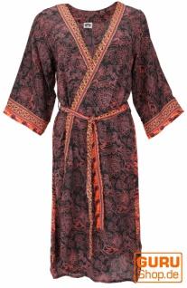 Kimonokleid, seidig glänzender Boho Kimono, 3/4 Kimonomantel - schwarz