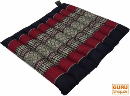 Thai Stuhlkissen, Bodenkissen, Sitzunterlage aus Kapok, 35*40 cm - schwarz/rot