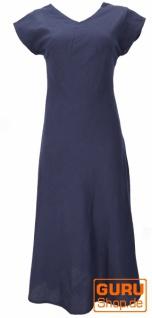 Langes Sommerkleid, Boho chic Leinenkleid - dunkelblau
