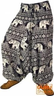 Haremshose und Overall mit Elefantendruck - schwarz