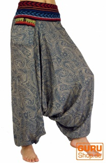 Bedruckte Haremshose, Pluderhose mit breitem gewebtem Bund - taubenblau