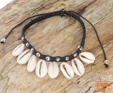 Perlenarmband/Fußkettchen Kauri Schnecke, Makrameee, Muschel Armband - Modell 1