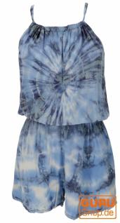 Kurzer luftiger Batik Overall im Hippiestyle - blau
