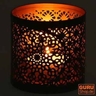 Filigranes orientalisches Metall Windlicht, Teelicht Leuchte mit fein gefrästem Design - Motiv 2 - Vorschau 4