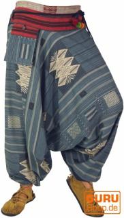 Haremshose mit Ikatmuster und Kordelband - taubenblau