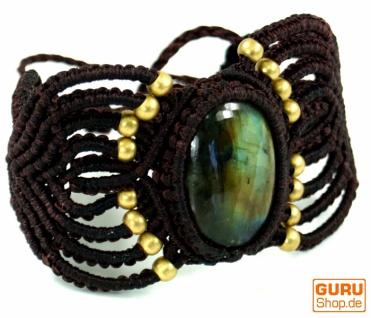 Goa Armband, Makramee Armband mit großem Labradorit - Model 2
